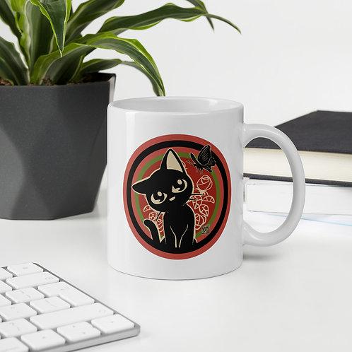 Rose and Black Cat Mug