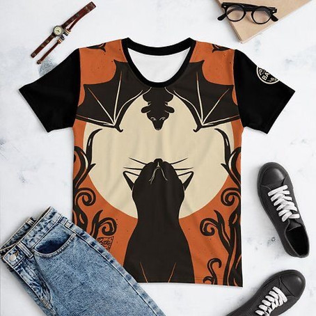 Batty and Black Cat All Over Print T-shirt