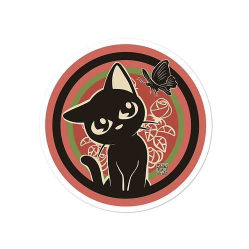 Rose and Black Cat Bubble-free stickers