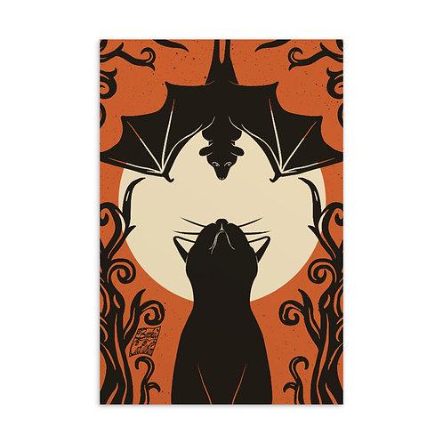 Batty and Black Cat Standard Postcard