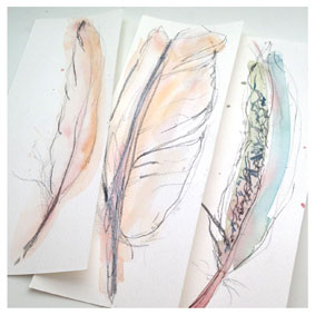 3 feather watercolour