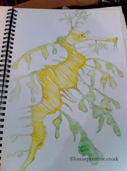Sea dragon working with watercolour