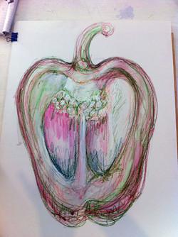 Mixed media pepper drawing