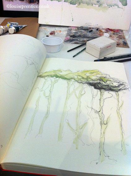 Budleigh Salterton tree sketch