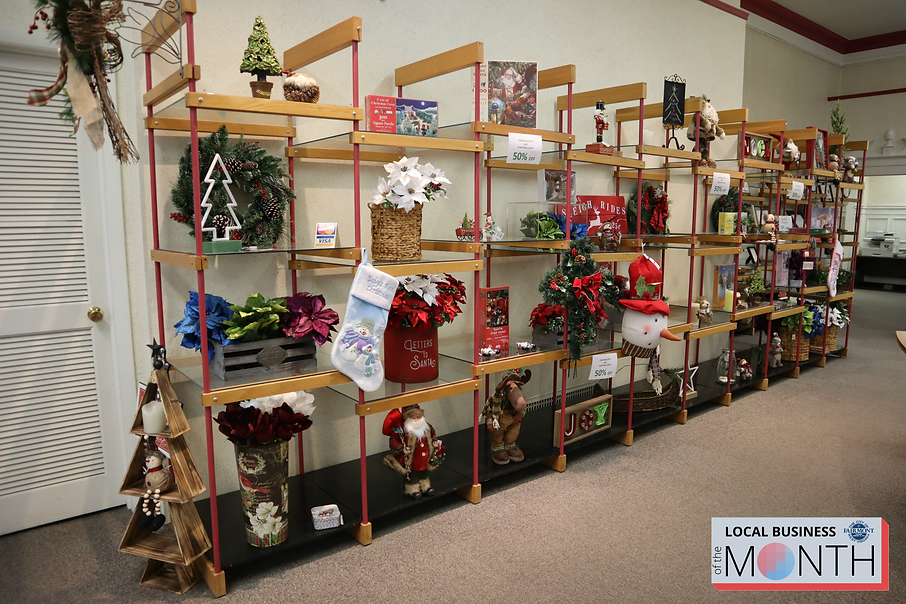 Display of Christmas Home Decor Items at Adams Office Supply