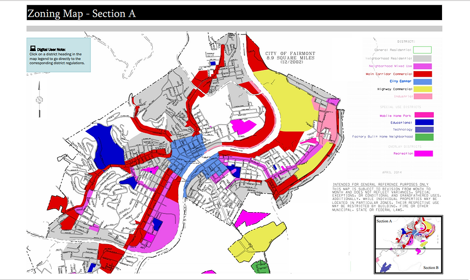Fairmon Zoning Map Section A