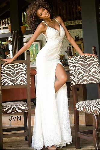 Plunging Neckline High Slit Dress