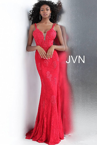 Red Fitted Plunging Neckline Lace