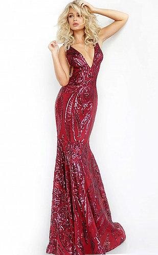 Low V Neck Embellished Dress