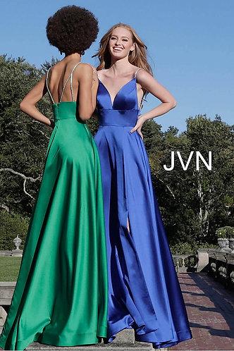 Plunging V Neck Embellished Straps A Line Dress