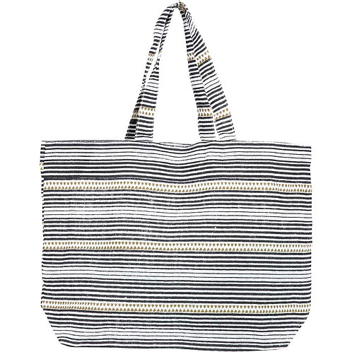 Bethany Black Jute Carryall Tote Bag