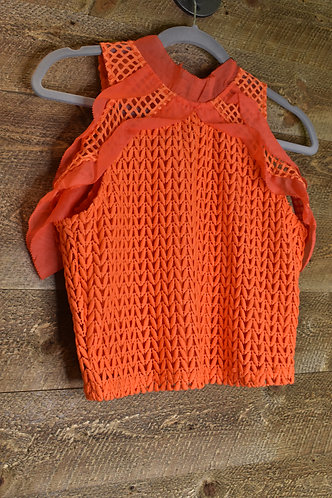 Trendy orange knit top