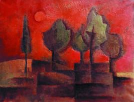 Título: Paisaje con cielo rojo