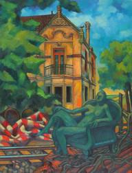 Título: Casa de Flores o Paisaje con estatua y vías de tren