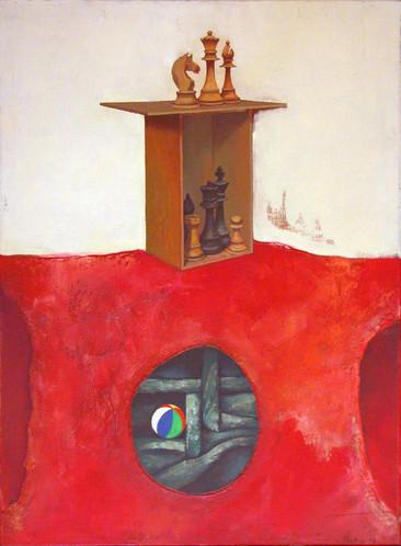 """Título: Autorretrato (sobre el poema """"El ajedrez"""" de Jorge Luis Borges)"""