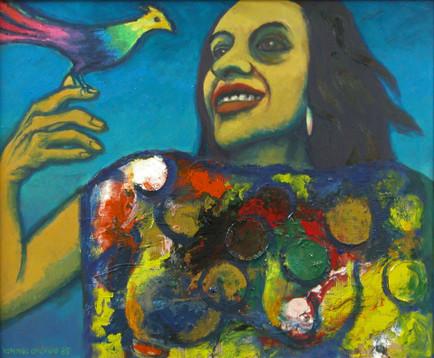 Título: Catalina con un pájaro
