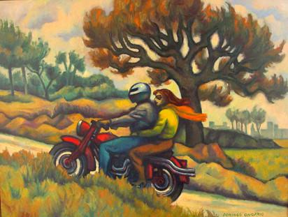 Título: Paisaje con moto