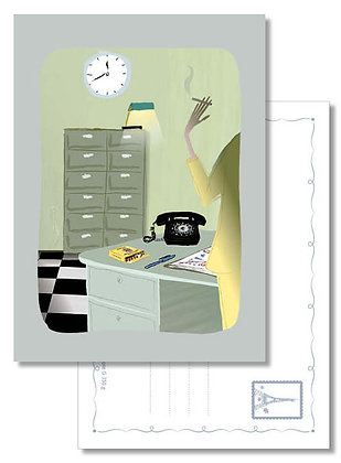 """Carte postale """" Au bureau… """""""