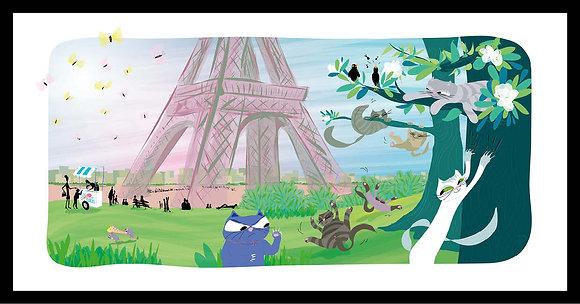Cabrioles dans les jardins de la tour Eiffel