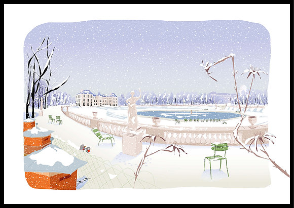 Le jardin du Luxembourg sous la neige