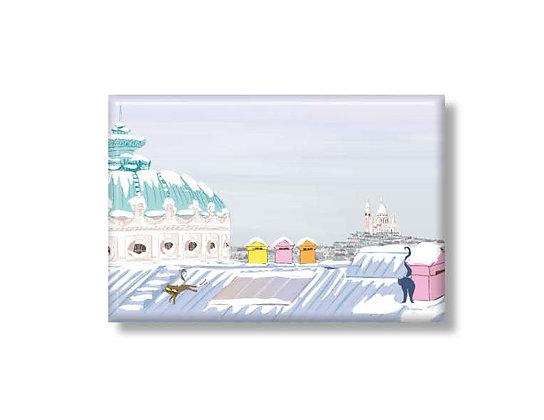 """Magnet """"Les toits de l'Opéra sous la neige"""""""