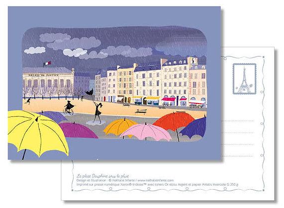 """Carte postale """" La place Dauphine sous la pluie """""""