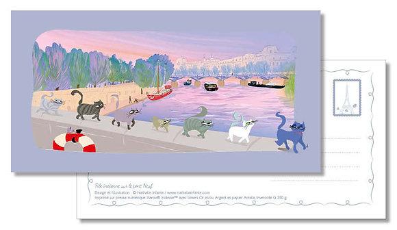 """Carte postale """" File indienne sur le pont Neuf """""""