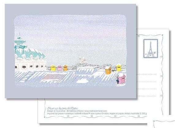 """Carte postale """" L'hiver sur les toits de l'Opéra """""""