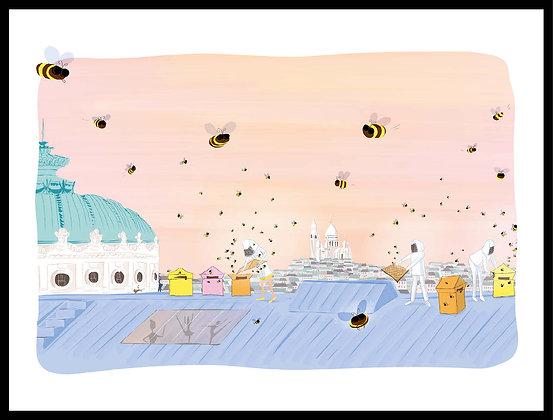 Ballet d'abeilles sur les toits de l'Opéra