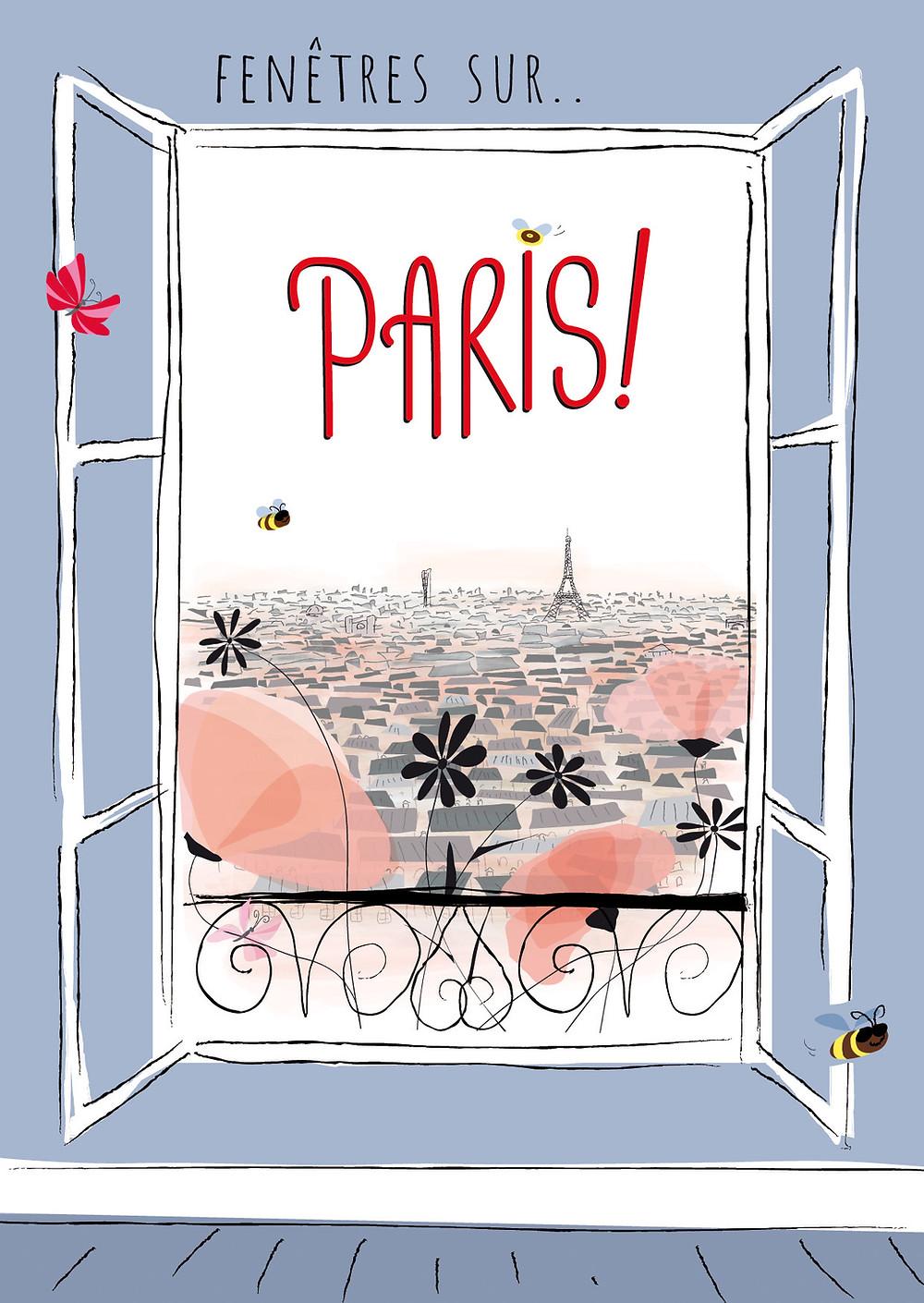 Affiche de l'exposition, une fenêtre s'ouvre en laissant voir Paris et la tour Eiffel au loin