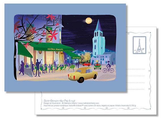 """Carte postale """" Saint-Germain-des-Prés la nuit """""""