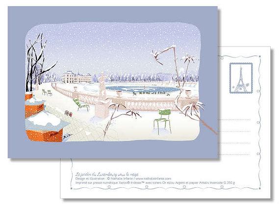 "Carte postale "" Le jardin du Luxembourg sous la neige """