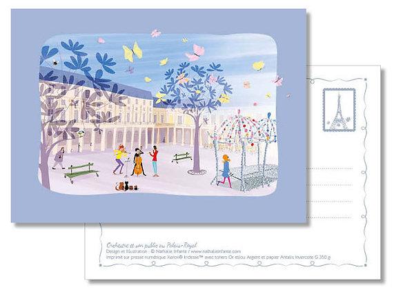 """Carte postale """" Orchestre et son public au Palais-Royal """""""