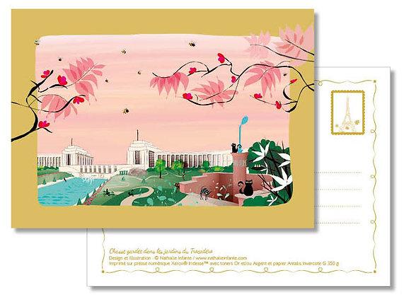 """Carte postale """" Chasse gardée dans les jardins du Trocadéro """""""