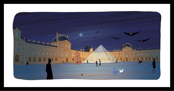 Clair de lune sur la Pyramide du Louvre