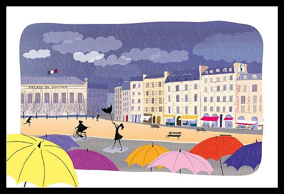 La place Dauphine sous la pluie