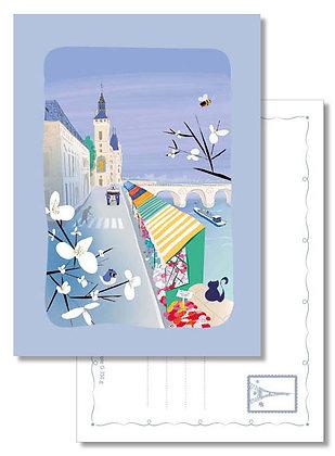 """Carte postale """" Petit tour au marché aux fleurs """""""