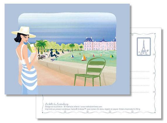 """Carte postale """" La belle du Luxembourg """""""