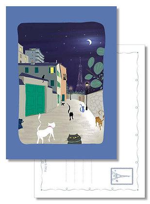 "Carte postale "" Rue Berton, quelques chats sortant dîner """