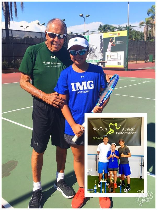 Stacey with Nick Bollettieri, her tennis coach orlando silvoza and her fitness trainer Yasu Minoda