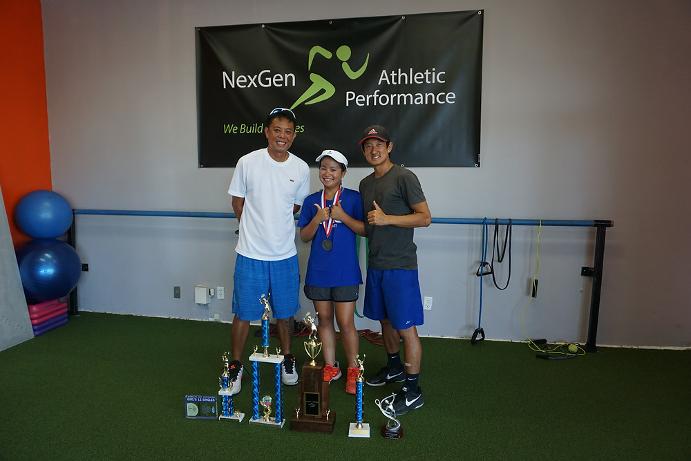 Stacey with her tennis coach orlando silvoza and her fitness trainer Yasu Minoda