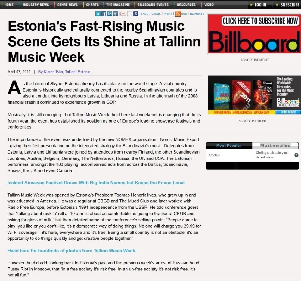 Tallinn Music Week 2012, Billboard