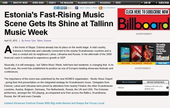 Tallinn Music Week 2012, Billboard