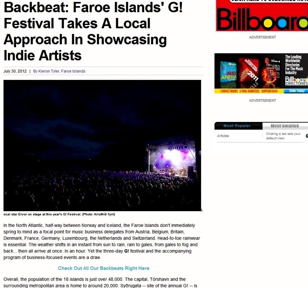 G Festival 2012, Billboard
