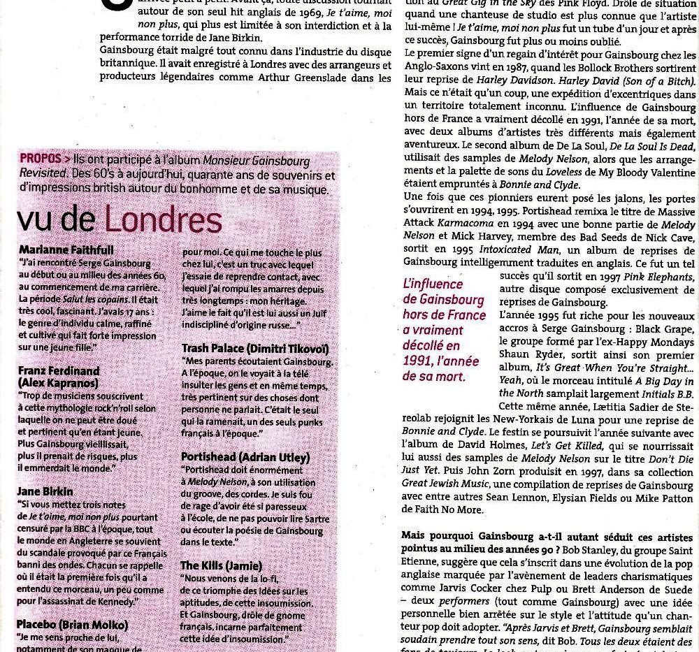 Serge Gainsbourg Made In England Initials UK, Les Inrockuptibles