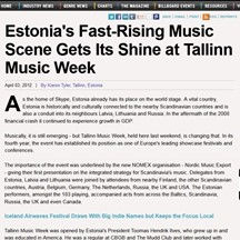 Tallinn Music Week, Billboard, 3 April 2