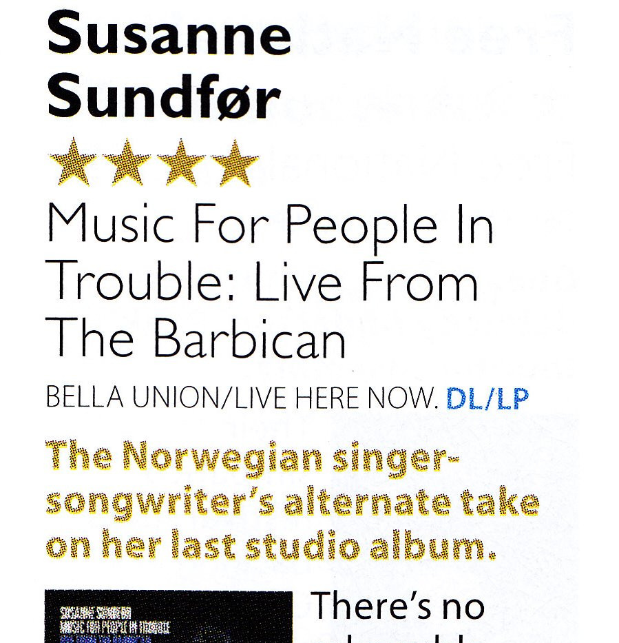 Susanne Sundfør, Music For People In Trouble Live From The Barbican review, MOJO