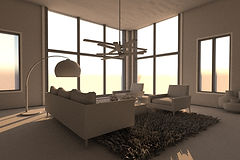black-and-white-3D-rendering-of-a-modern-living-room