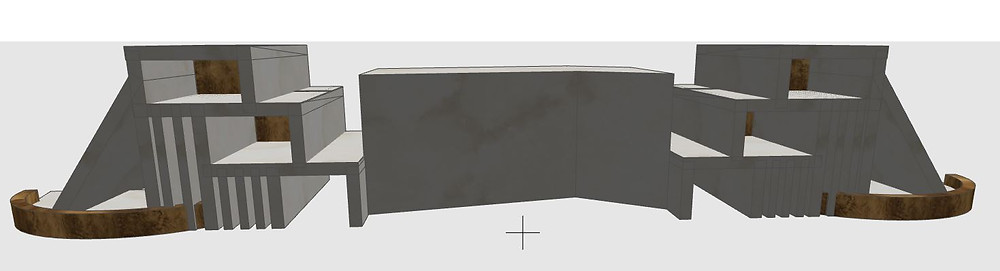 3D Sketch of Hotel Reception Desk Design with Marble Countertop and Brass Trim by K Lilia Interior Design
