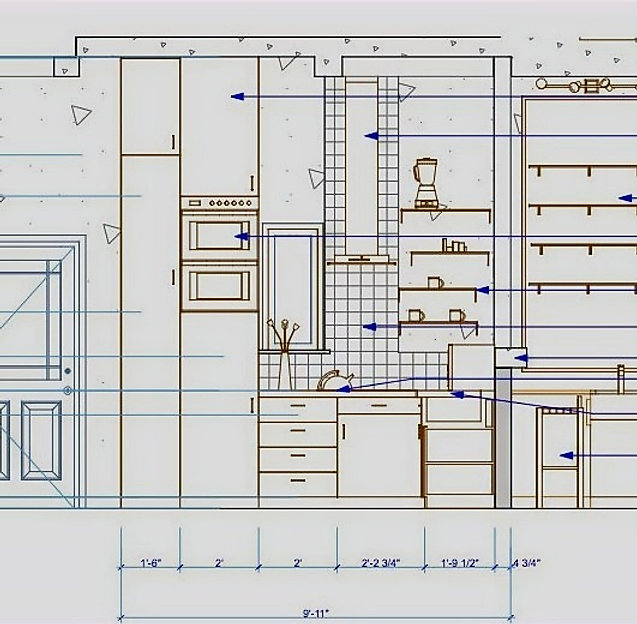 Kitchen Elevation Plan with Dimensions and Labels Space Planning Design